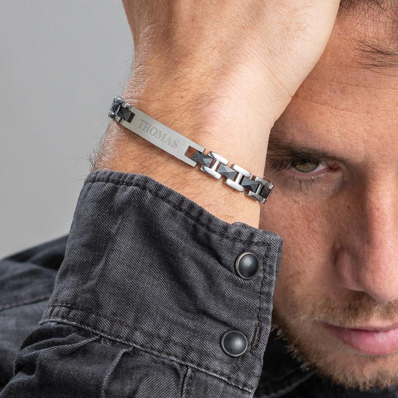 Bracelet ID homme en acier inoxydable et céramique noire - 3