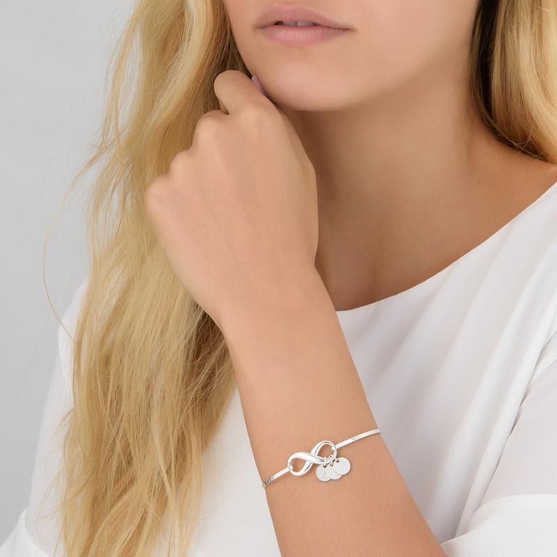 Bracelet Jonc infini avec pendentif initiale en argent - 3
