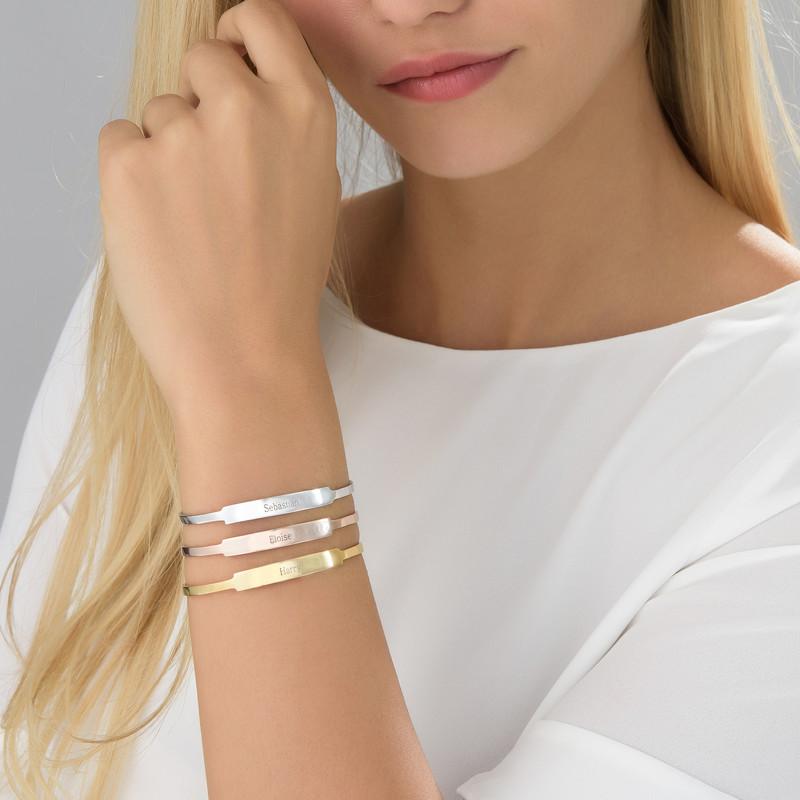 Bracelet Jonc prénom ouvert en plaqué or rose - 2