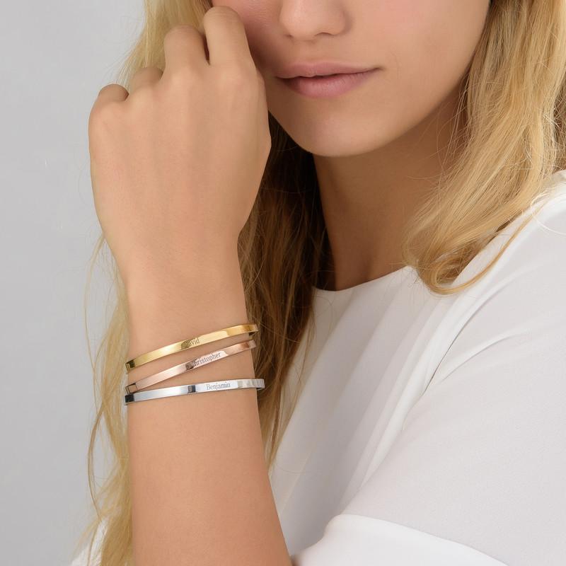 Bracelet Jonc gravé en plaqué or rose 18 carats - 2