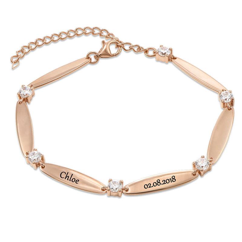 Bracelet maman gravé avec cubes de zirconium en plaqué or rose - 1