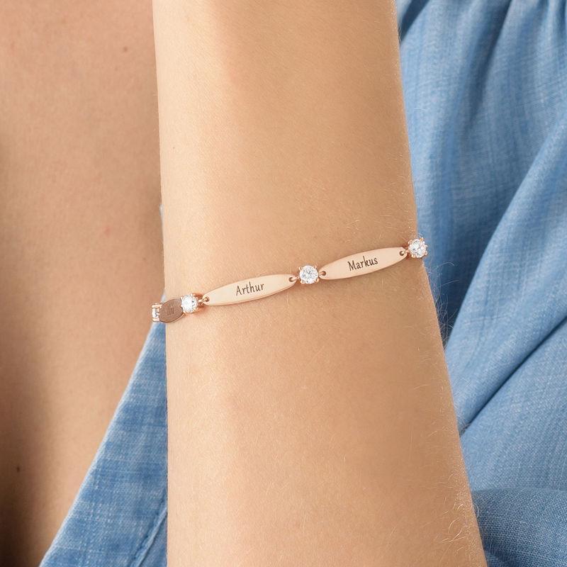 Bracelet maman gravé avec cubes de zirconium en plaqué or rose - 3