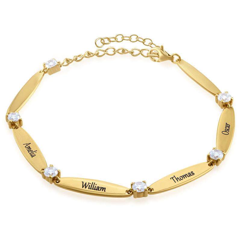 Bracelet maman gravé avec cubes de zirconium en Or Vermeil