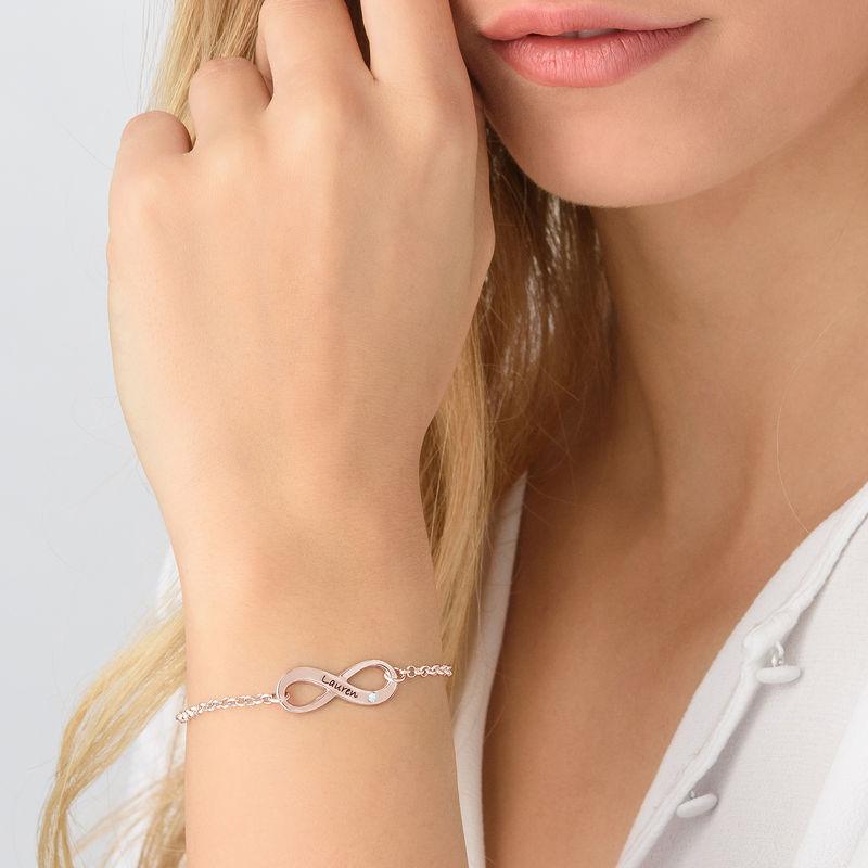 Bracelet infini gravé en plaqué or rose avec diamant - 2