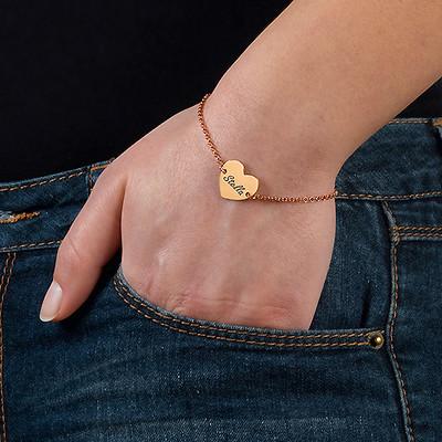 Bracelet Coeur Gravé Couples en Plaqué Or Rose 18ct - 2