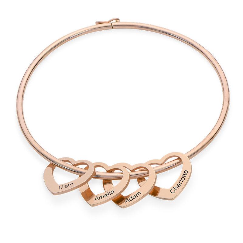 Bracelet jonc avec pendentifs cœur en plaqué or rose
