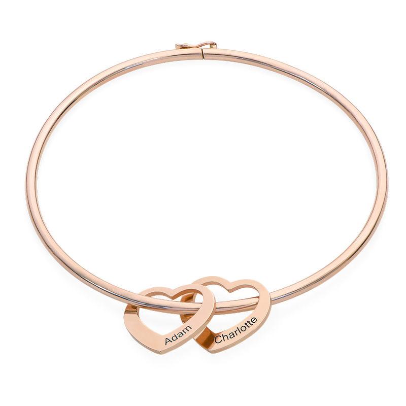 Bracelet jonc avec pendentifs cœur en plaqué or rose - 1