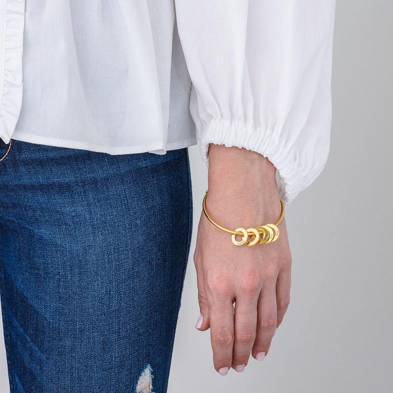 Bracelet jonc avec pendentifs ronds en plaqué or - 2