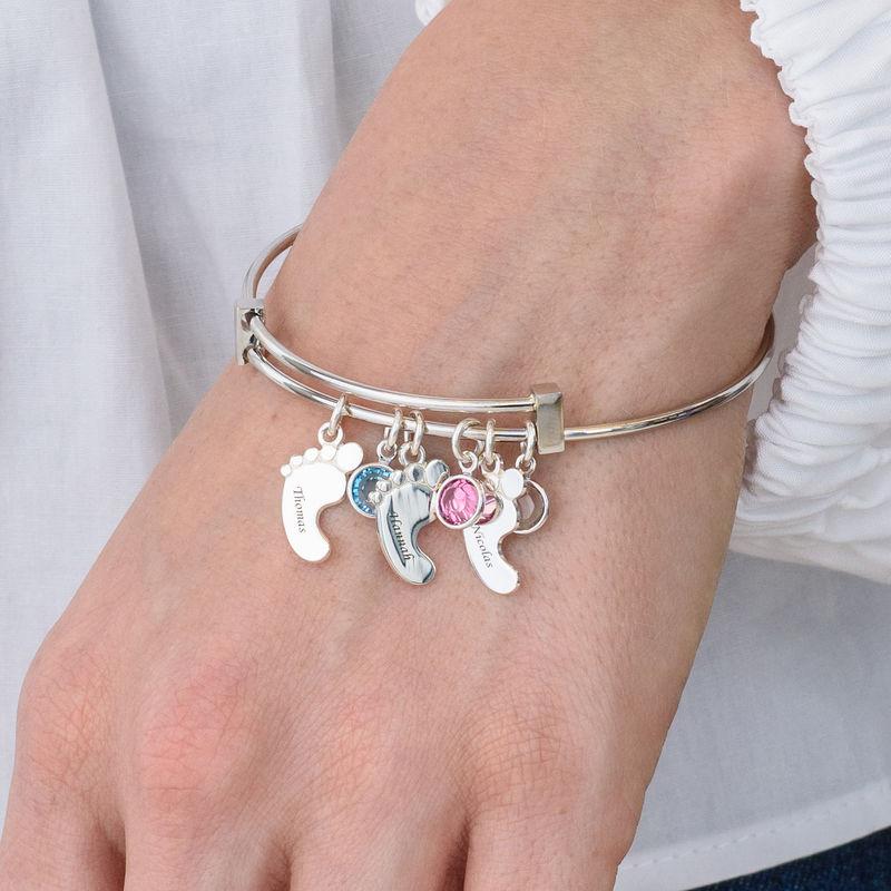 Bracelet jonc pieds de bébé avec pierres de naissance - 3