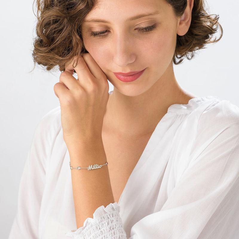 Bracelet Prénom avec Pierres Multicolores en Argent - 1