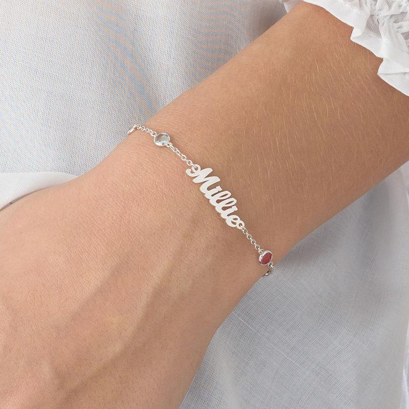 Bracelet Prénom avec Pierres Multicolores en Argent - 2