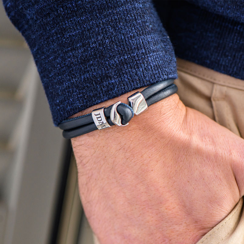 Bracelet Ancre pour Homme avec Initiale Gravée en Argent - 4