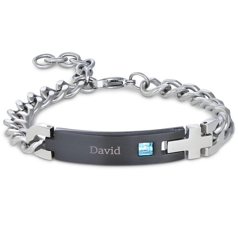 Bracelet d'identification pour homme en acier inoxydable