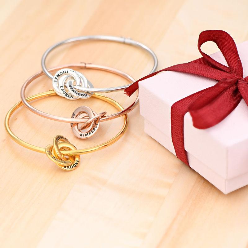 Bracelet Jonc Anneaux Gravés en Plaqué Or Rose - 1