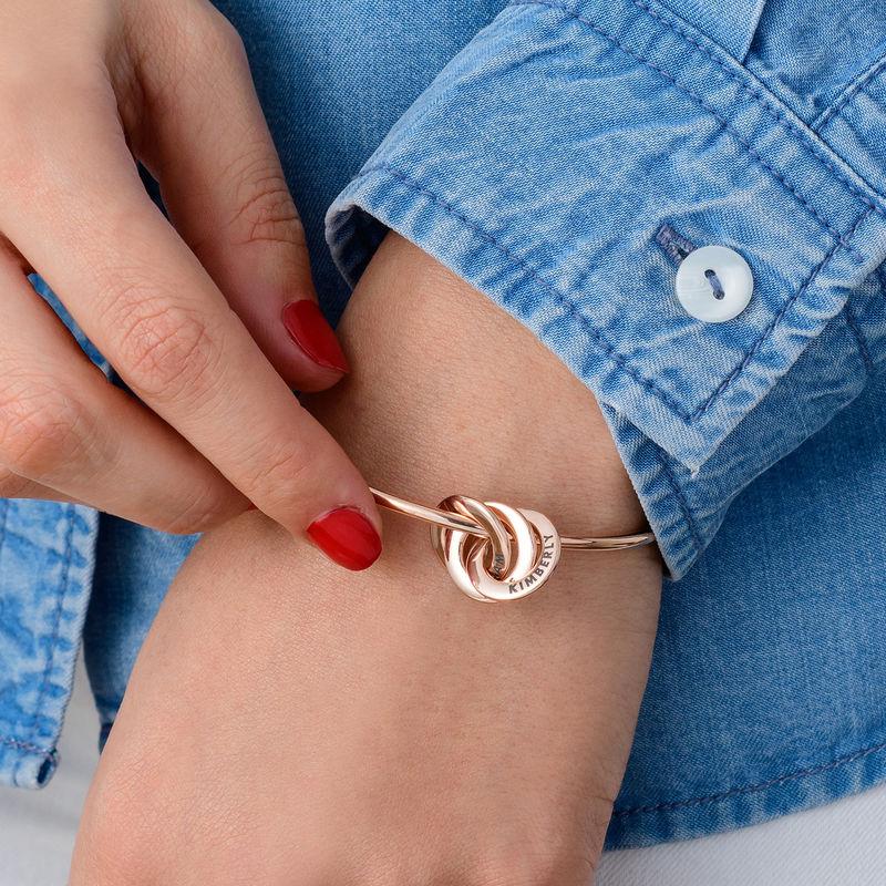 Bracelet Jonc Anneaux Gravés en Plaqué Or Rose - 2