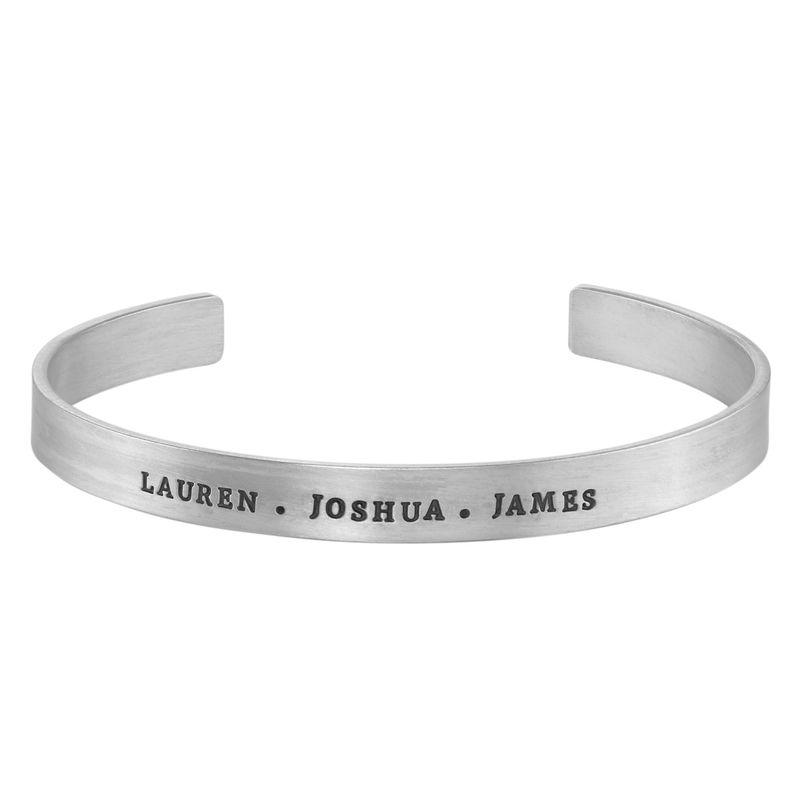 Bracelet manchette homme gravé en Argent