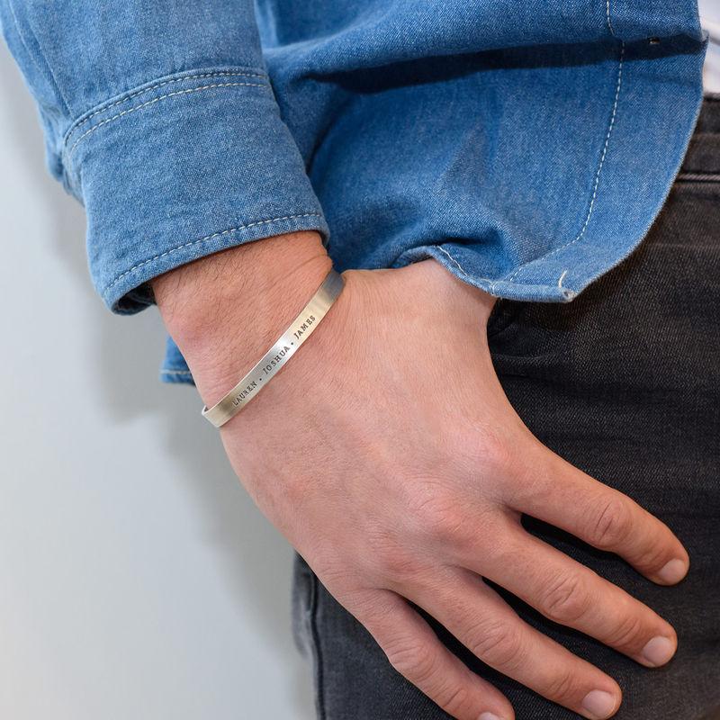 Bracelet manchette homme gravé en Argent - 2