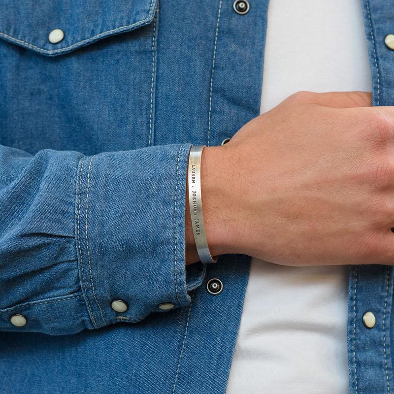Bracelet manchette homme gravé en Argent - 3