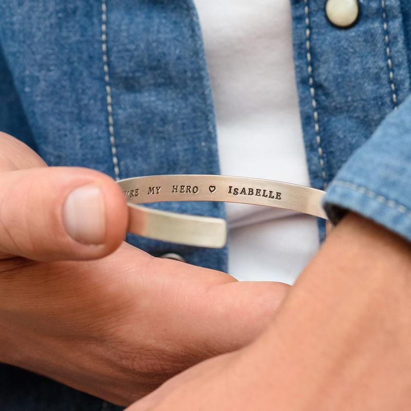 Bracelet manchette homme gravé en Argent - 4