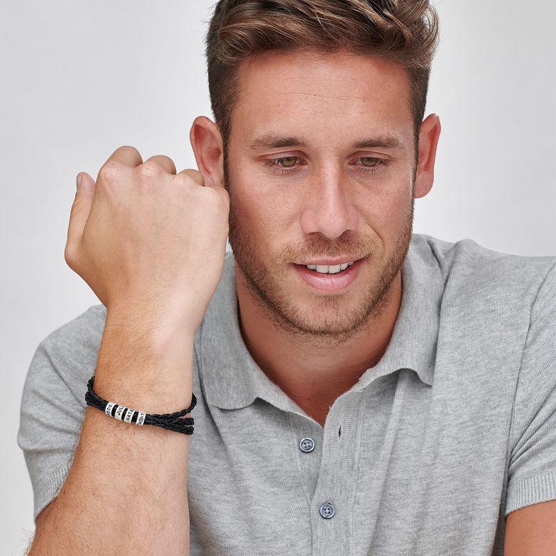 Bracelet homme avec petites perles personnalisées en argent - 1
