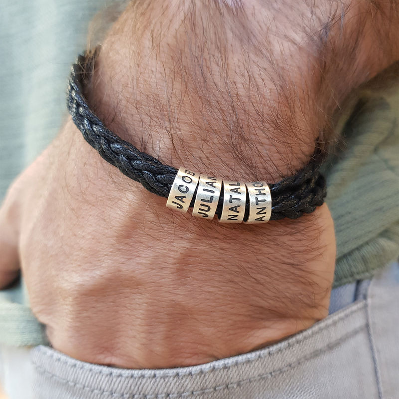 Bracelet homme avec petites perles personnalisées en argent - 3