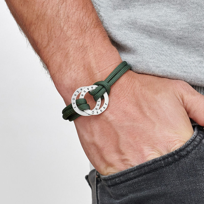 Bracelet Cordon homme avec anneaux gravés - 2