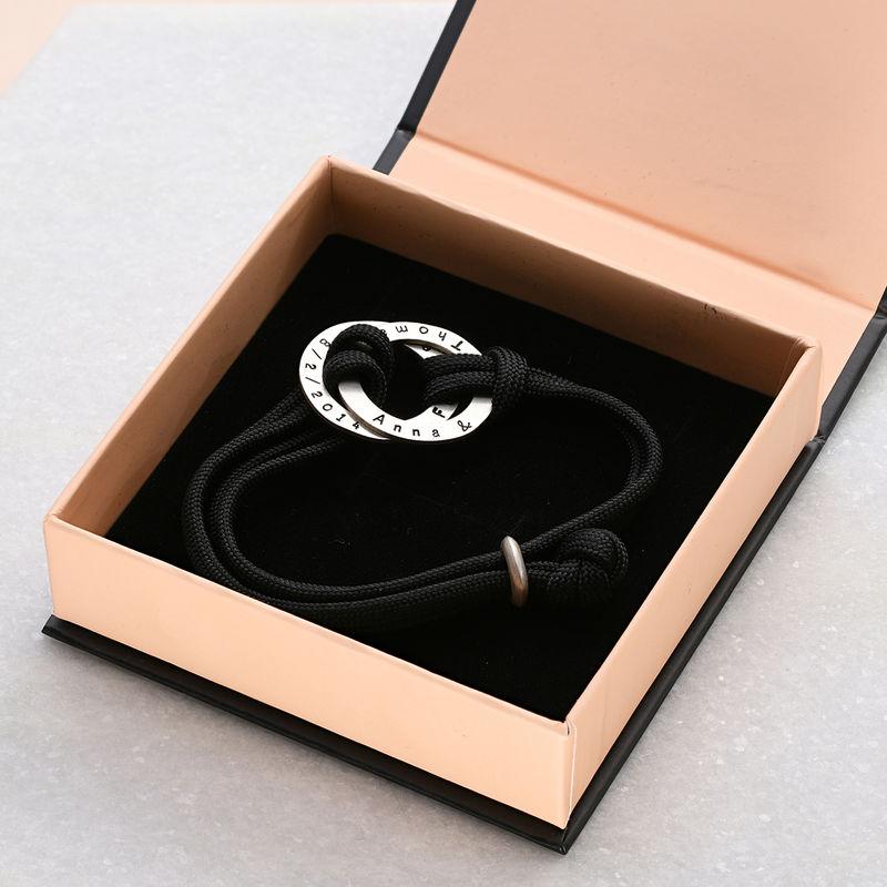 Bracelet Cordon homme avec anneaux gravés - 3