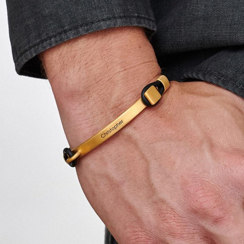 Bracelet homme en Gomme personnalisé avec Barre gravable en Plaqué Or - 1