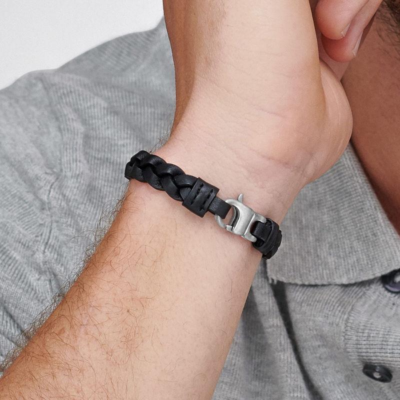 Bracelet cuir pour homme Corde Marine noire - 3