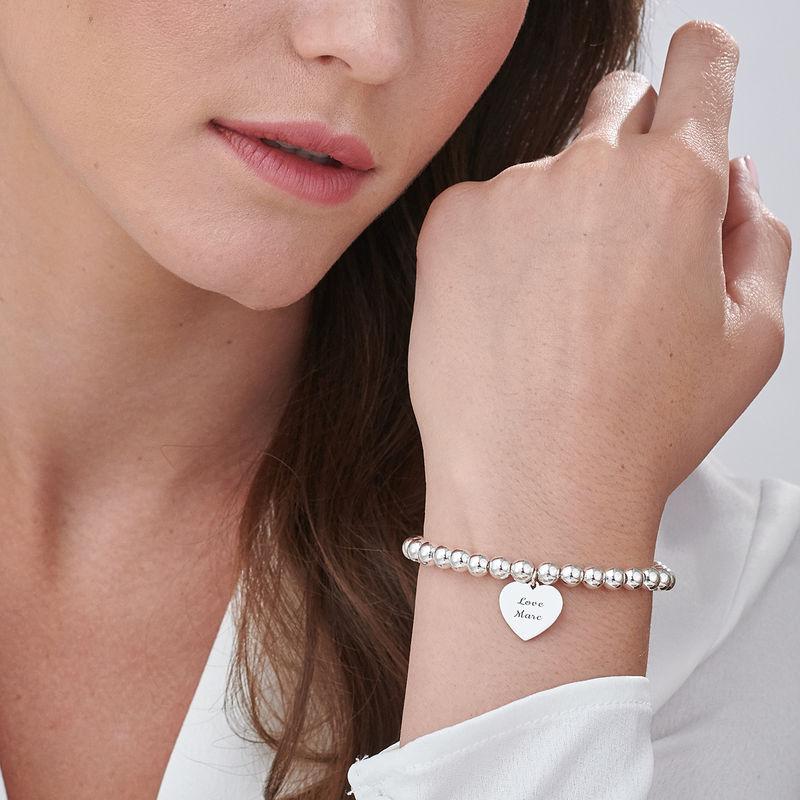 Bracelet perlé avec pendentif coeur gravé en Argent Massif - 2