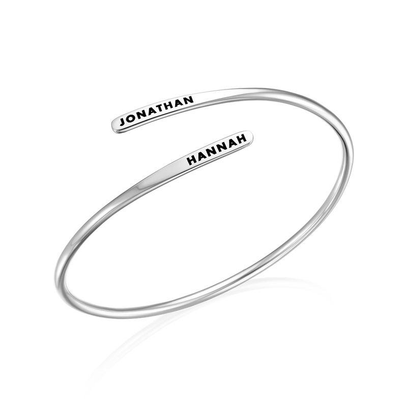 Bracelet manchette gravé ajustable en Argent - 1