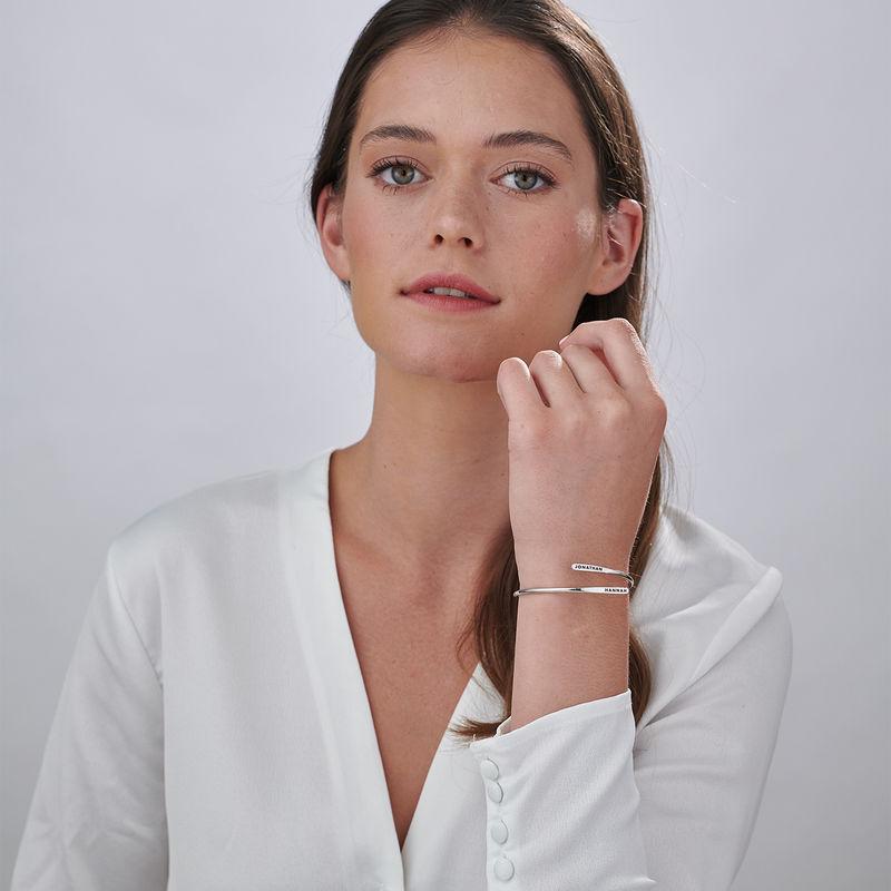 Bracelet manchette gravé ajustable en Argent - 2