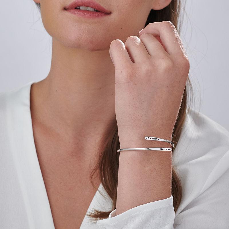 Bracelet manchette gravé ajustable en Argent - 3