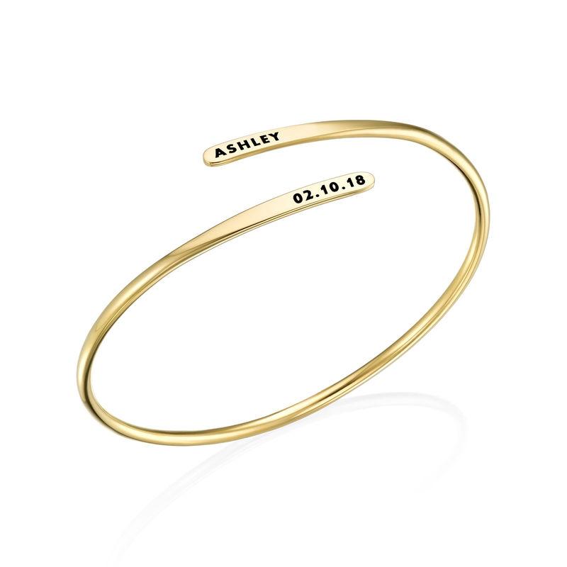 Bracelet manchette gravé ajustable en Plaqué Or - 1