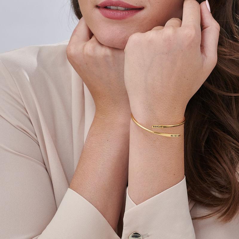 Bracelet manchette gravé ajustable en Plaqué Or - 3