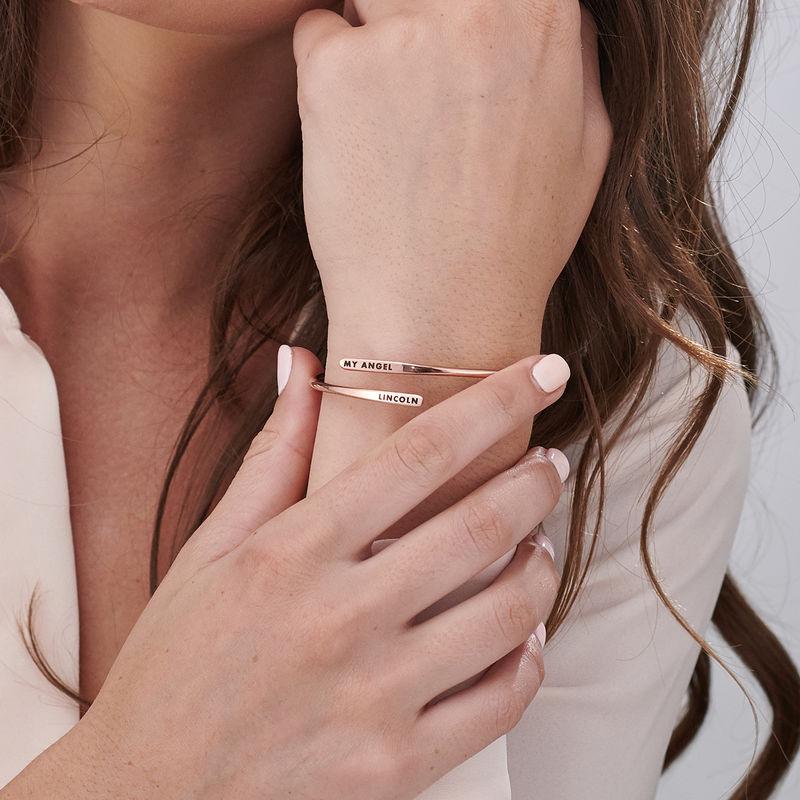 Bracelet manchette gravé ajustable en Plaqué Or Rose - 3