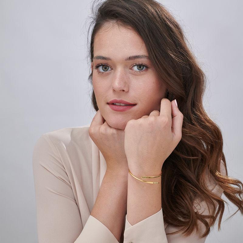 Bracelet manchette gravé ajustable en Or Vermeil - 2