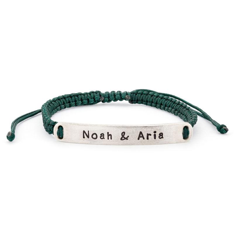 Bracelet bar gravé cordon ajustable en Argent