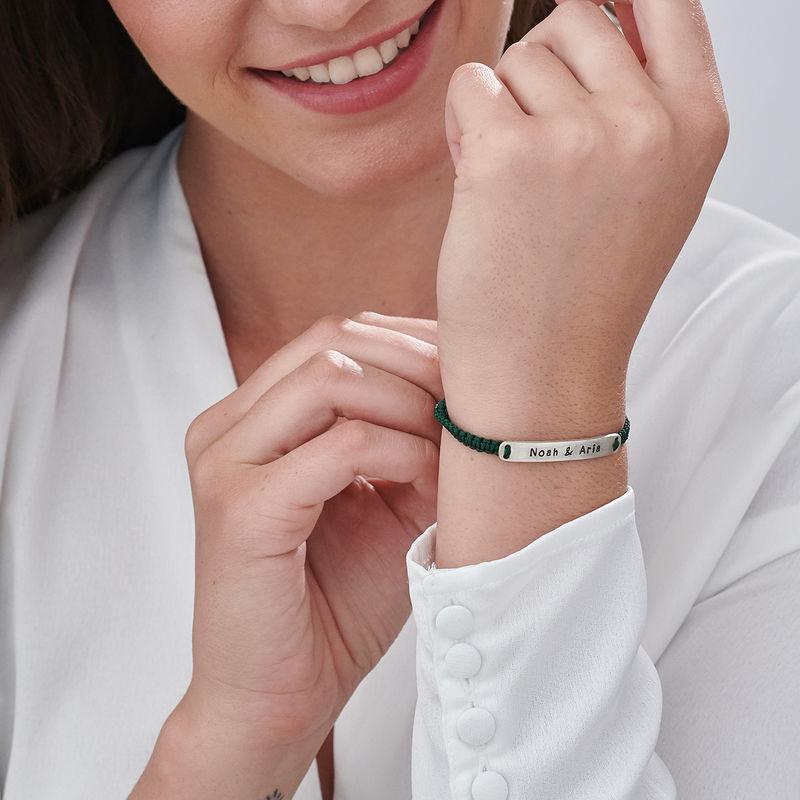 Bracelet bar gravé cordon ajustable en Argent - 3