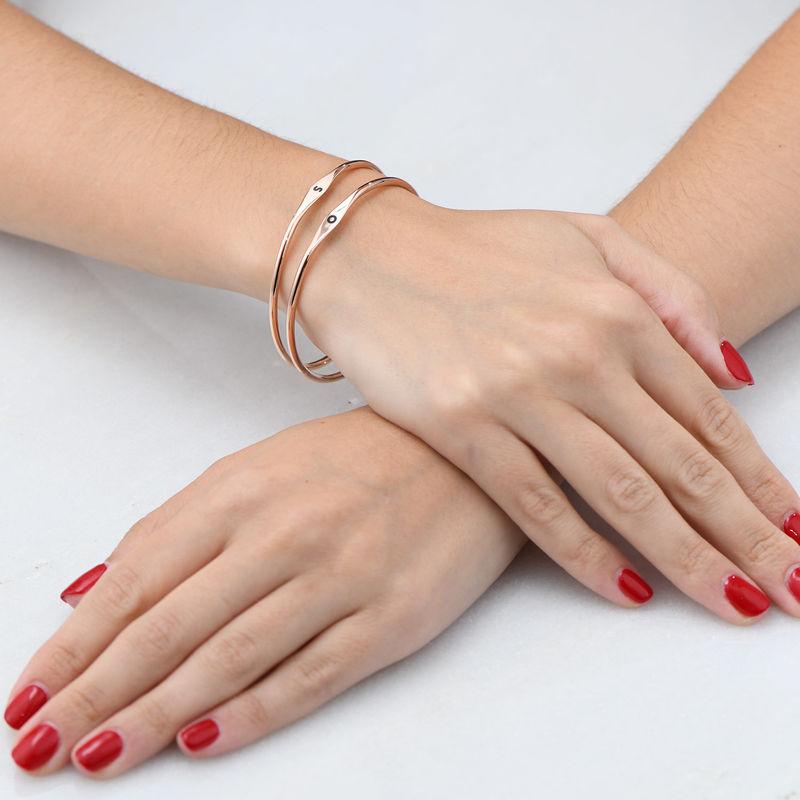 Bracelet jonc initiale en Plaqué Or Rose - 3