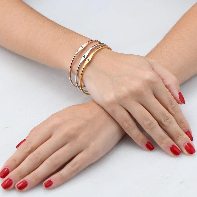 Bracelet jonc initiale en Plaqué Or Rose - 4