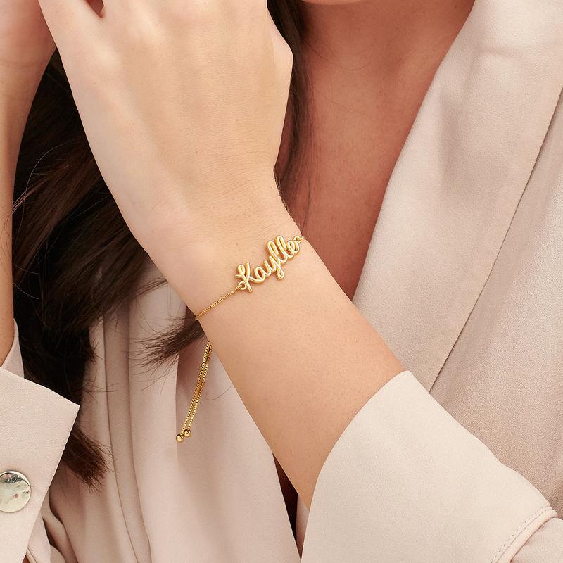 Bracelet prénom avec écriture cursive en Plaqué Or - 2