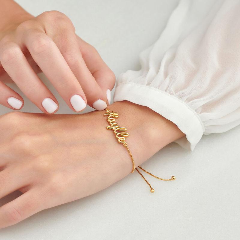 Bracelet prénom avec écriture cursive en Plaqué Or - 3