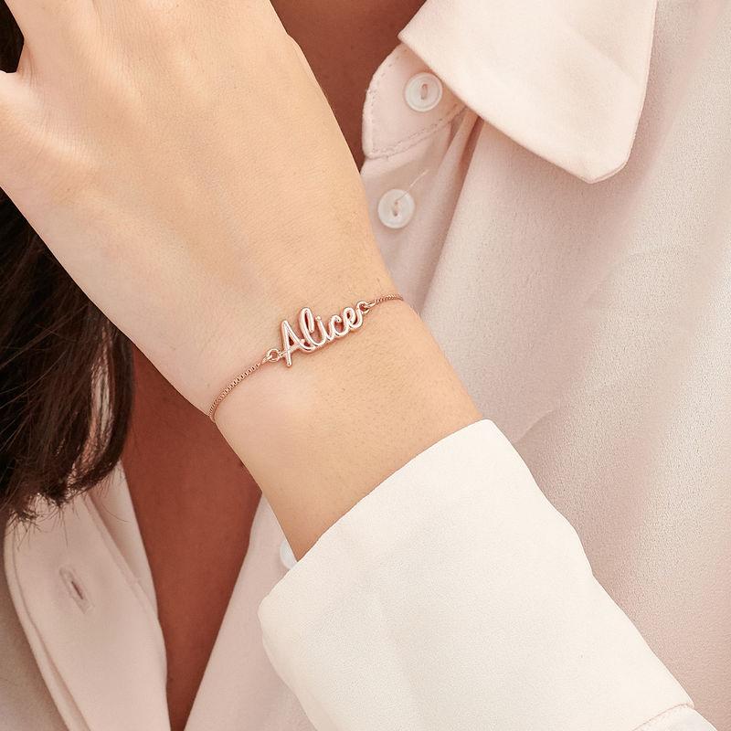 Bracelet prénom avec écriture cursive en Plaqué Or Rose - 2