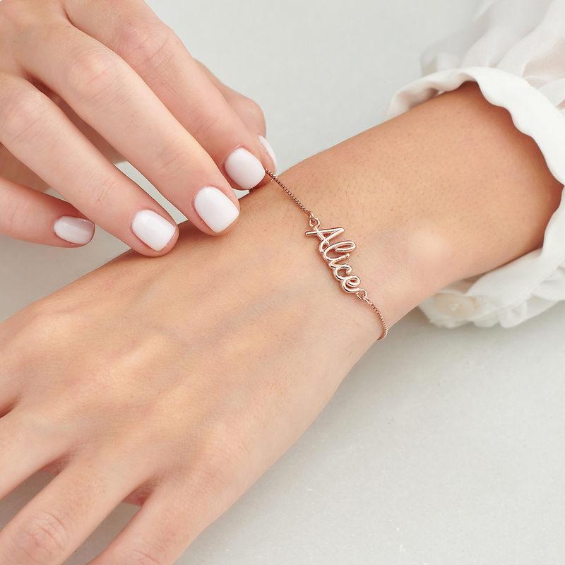 Bracelet prénom avec écriture cursive en Plaqué Or Rose - 3