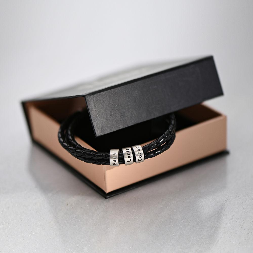 Bracelet Homme en Cuir Tressé Noir avec Petites Perles Personnalisées en Argent - 6