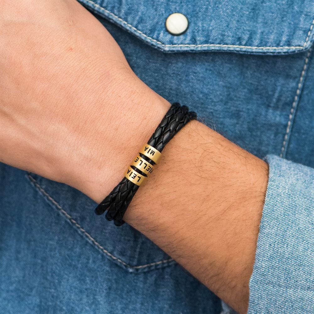 Bracelet Homme en Cuir Tressé Noir avec Petites Perles Personnalisées en Plaqué Or - 4