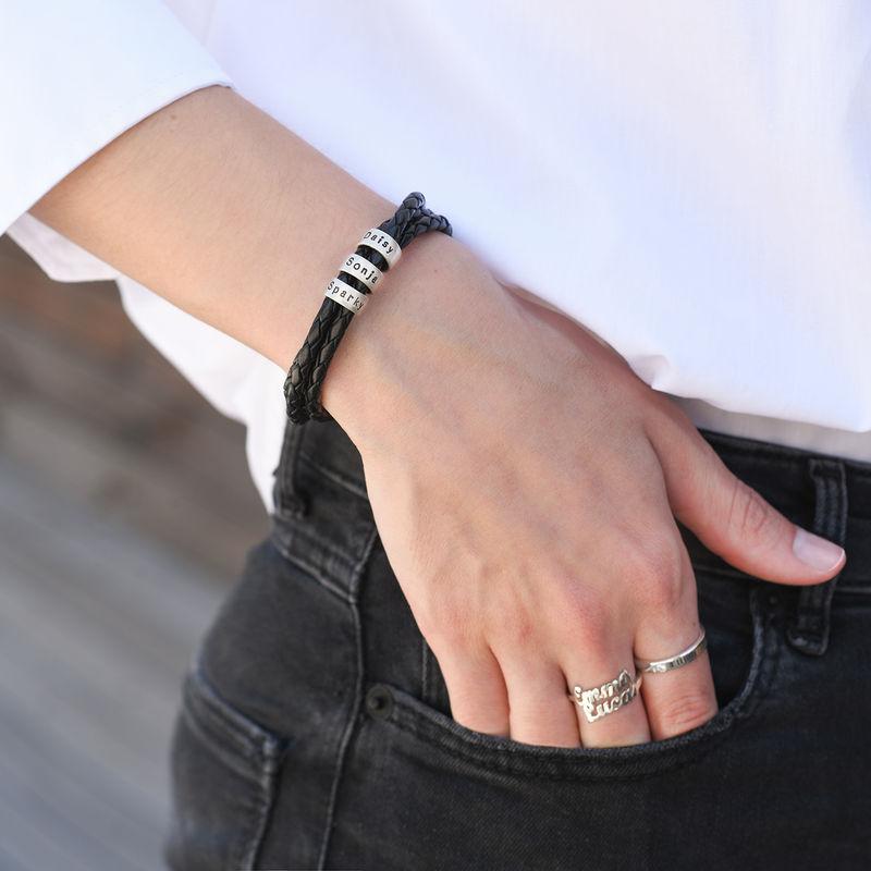 Bracelet Maman en Cuir Tressé avec Petites Perles Personnalisées en argent - 2