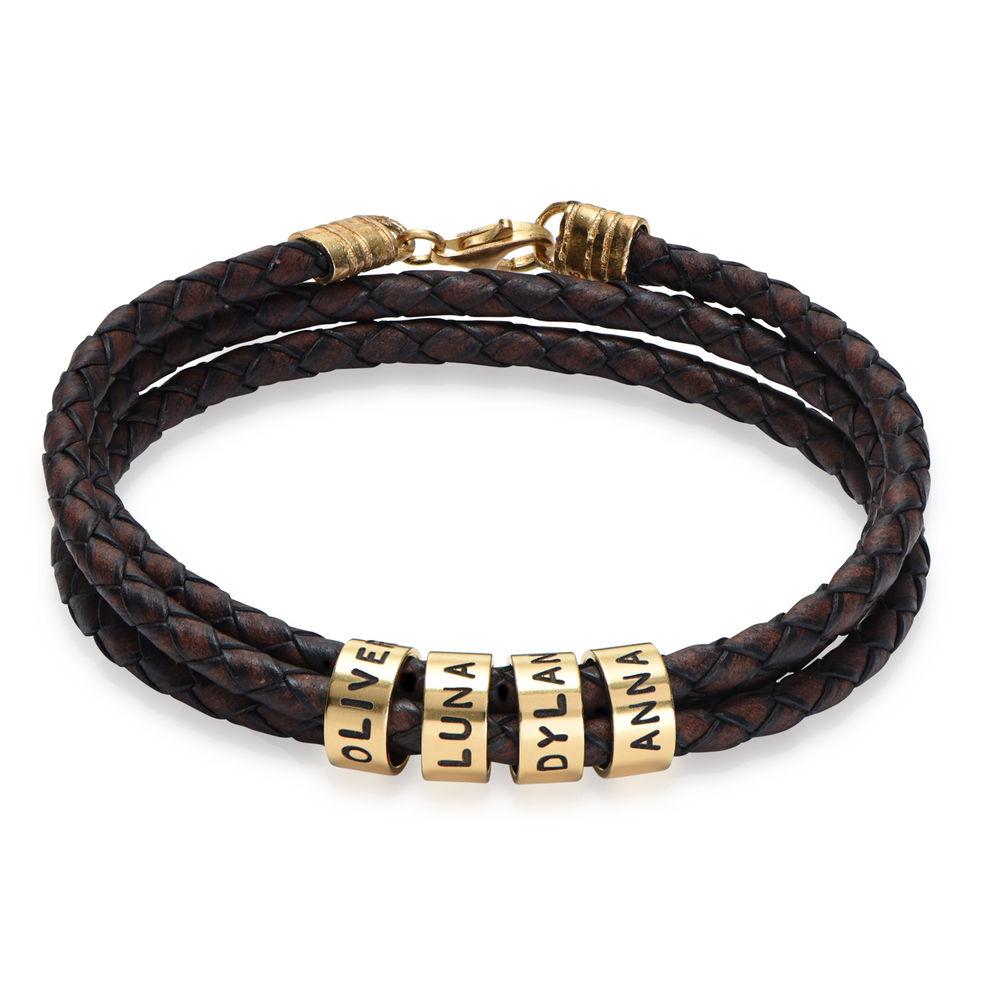 Bracelet Homme en Cuir Tressé Marron avec Petites Perles Personnalisées en Plaqué Or