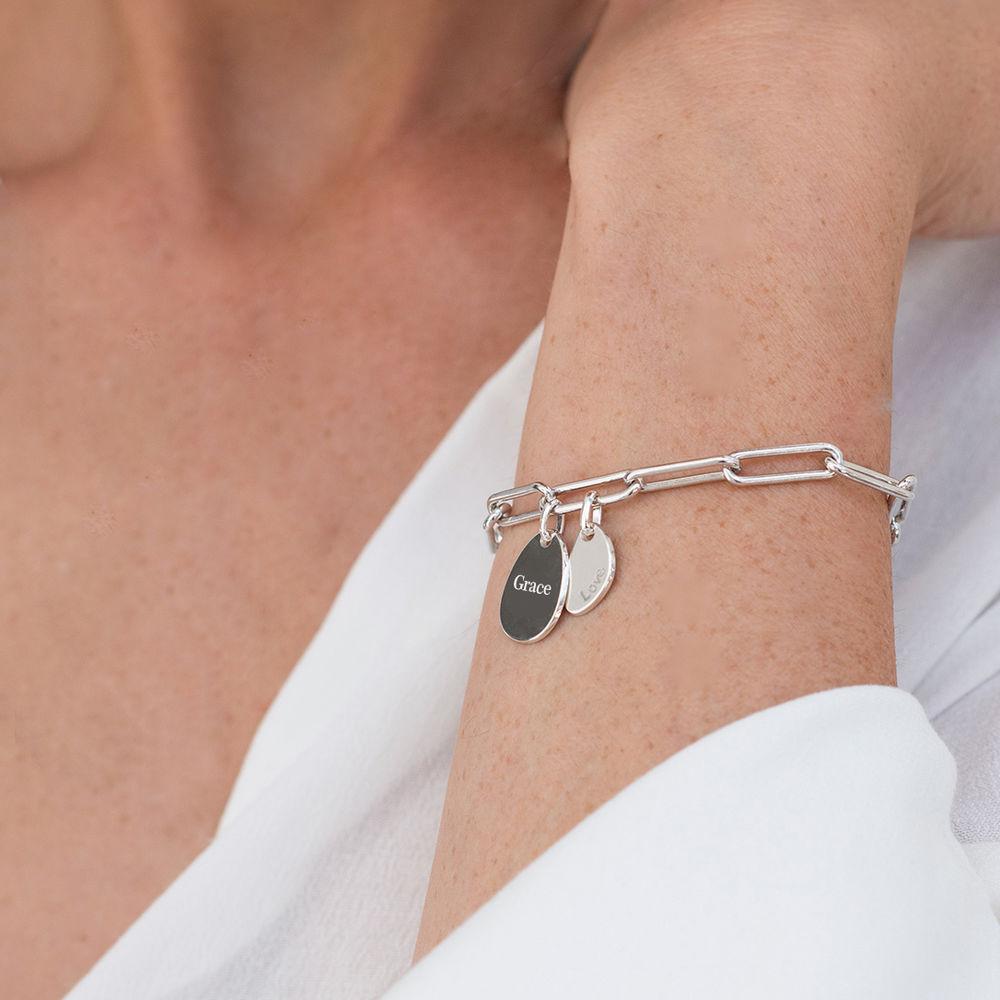 Bracelet Chaîne Personnalisée avec Charmes Gravées en Argent massif - 2